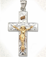 Two Tone Sterling Silver Cross with 14kt Gold Crucifix, Large