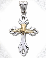 Two Tone Sterling Silver Cross with 14kt Gold Dove, 1 1/2""
