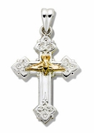 Two Tone Sterling Silver Cross with 14kt Gold Dove, 1 1/4""