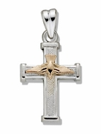 Two Tone Sterling Silver Cross with 14kt Gold Dove