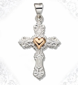 Two Tone Sterling Silver Cross with 14kt Gold Heart Accent, 1""