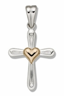Two Tone Sterling Silver Cross with 14kt Gold Heart Accent