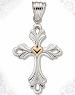 Two Tone Sterling Silver Cut Out Cross with 14kt Gold Heart Accent