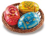 Ukrainian Hand Painted Pysanky Eggs in Basket
