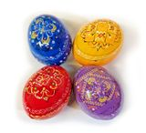 Colorful Ukrainian Pysanky Wooden Eggs, Set of 4