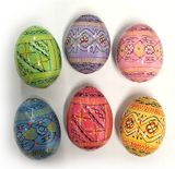 Pastel Colors Ukrainian Pysanky Wooden Eggs, Set of 6