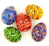 Ukrainian Pysanky Mini Wooden Egg, Set of 5 pcs, Hand Painted