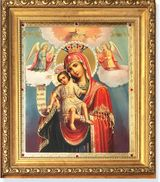 """Virgin Mary """"It is Truly Meet to Bless You""""   Framed Icon with Glass and Crystals"""