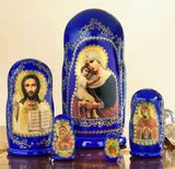 "Virgin Mary ""Seeker of the Perished"", 5 Nesting Icon Doll, Hand Painted, 7"""