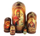 "Virgin Mary ""Quick To Hear"", 5 Nesting Icon Doll, Hand Painted, 7"""