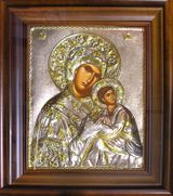 Virgin Mary Amolyndos, Hand Painted Orthodox Icon in Silver Oklad