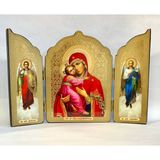 Virgin of Vladimir / Archangels Michael and Gabriel, Gold Foil Triptych