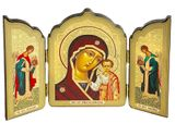 Virgin of Kazan / Archangels Michael and Gabriel, Gold Foil Triptych