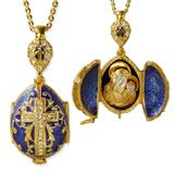 Virgin Mary & Child,  Locket, Sterling Silver, Gold Plated Egg Pendant, Blue