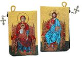 Virgin Mary & Christ Enthroned Rosary Icon Pouch