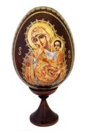 Virgin Mary of Tenderness, Wooden Icon Egg with Stand
