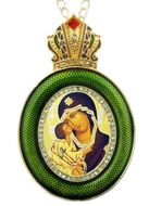 Virgin Mary Donskaya,  Egg Shape Framed Ornament Icon