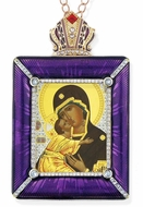 Virgin Mary Donskaya Icon in Square Style Frame with Stand