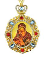 Virgin Mary Donskaya, Jeweled  Icon Pendant with Chain