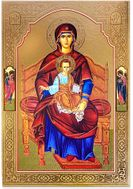 Virgin Mary Enthroned with Arch. Michael and Gabriel, Gold Foil Icon