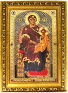 Virgin Mary Enthroned, Orthodox Framed Icon with Crystals and Glass