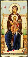 Virgin Mary Enthroned, Orthodox Christian Serigraph Panel Icon