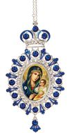 Virgin Mary the Eternal Bloom,  Jeweled  Icon Ornament with Chain