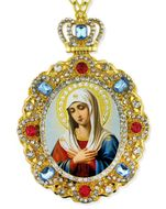 Virgin Mary Extreme Humility, Jeweled  Icon Pendant with Chain