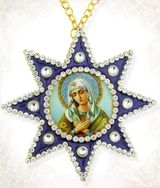 Virgin Mary Extreme Humility, Ornament Icon Pendant with Chain, Blue