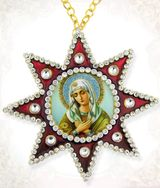 Virgin Mary Extreme Humility, Ornament Icon Pendant with Chain, Red