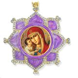 Virgin Mary Zirovitskaya, Faberge Inspired Framed Icon Ornament