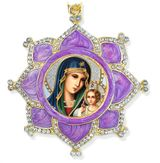 Virgin Mary Eternal Bloom, Faberge Inspired Framed Icon Ornament