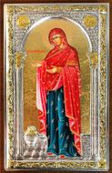 Virgin Mary Panagia Gerontissa, Serigraph Icon in Silver / Gold Plated Oklad