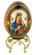 Virgin of Passions, Wooden Icon Egg on Metal  Stand