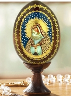 Virgin Mary Ostrobramska, Decoupage Icon Egg with Stand