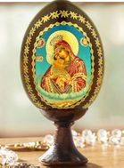 "Virgin Mary ""Pochaevskaya"", Decoupage Icon Egg with Stand"