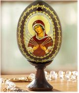 Virgin Mary of Sorrows, Decoupage Icon Egg with Stand
