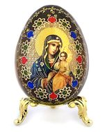 Virgin Mary Eternal Bloom, Wooden Icon Egg on Metal Stand