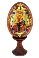 Blessed Virgin Mary, Wooden Icon Egg with Stand