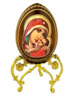 "Virgin Mary ""Sweet Kissing"", Decoupage Wooden Icon Egg with Stand"