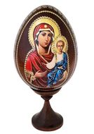 Virgin Mary of Smolensk, Wooden Icon Egg with Stand