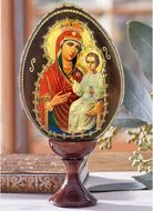 """Virgin Mary """"Quick to Hearken"""", Wooden  Icon  Egg with Stand"""