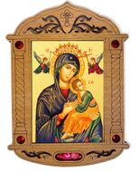 Virgin of Passion Icon in Wooden Shrine with Glass and Incense