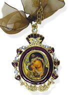 Virgin Mary Icon Pendant With Chain & Bow, IF-1RV-10D