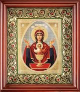 """Virgin Mary """"The Inexhaustible Cup""""  Icon in Wooden Open Up Kiot"""