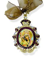 "Virgin Mary ""It Is Truly Meet"", Enamel Framed  Icon Pendant w/Chain & Bow"