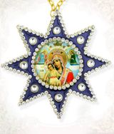 "Virgin Mary ""It Is Truly Meet"" , Ornament Icon Pendant with Chain, Blue"