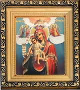 "Virgin Mary ""It is Truly Meet to Bless You""   Framed Icon with Glass and Crystals"