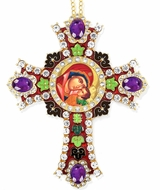 "Virgin Mary ""Leaping with Joy"" Icon in  Jeweled Wall Cross"