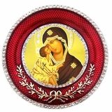 Virgin Mary of Don (Donskaya)    Icon in Round Style Frame with Stand
